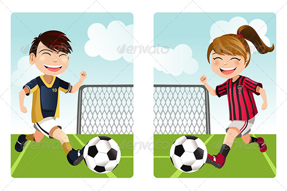 GraphicRiver Kids Playing Soccer 6153676