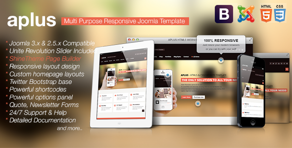 ThemeForest Aplus Responsive Multipurpose Joomla Template 6118332