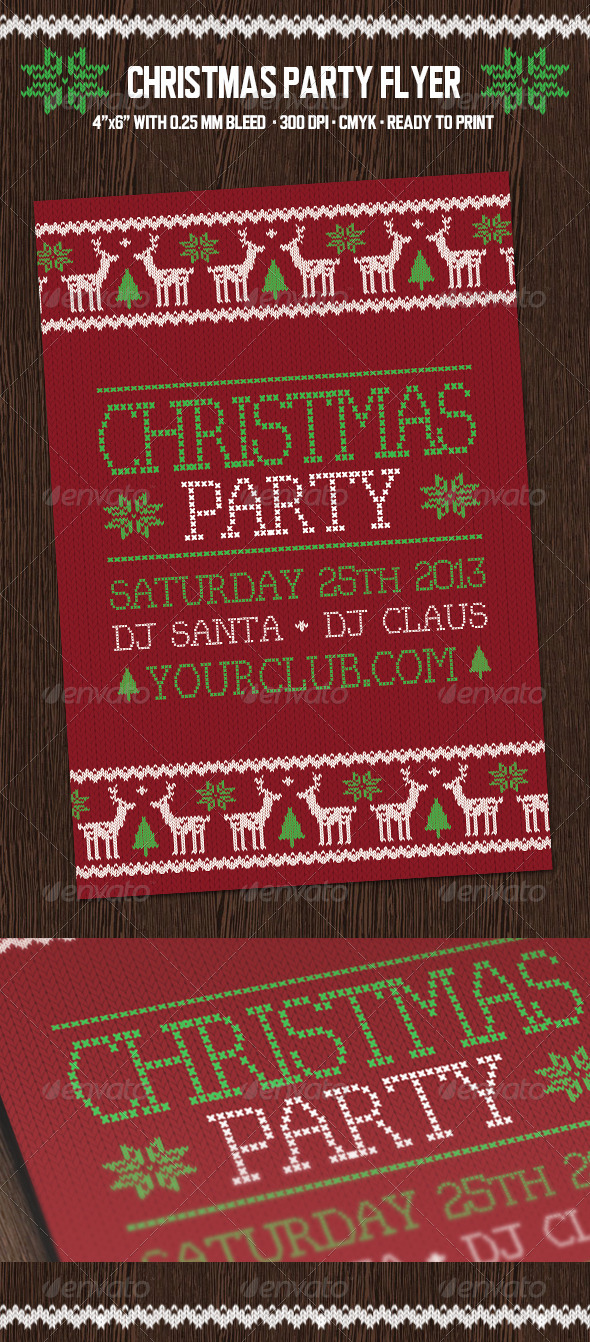 GraphicRiver Christmas Party Flyer with Deers 6123914