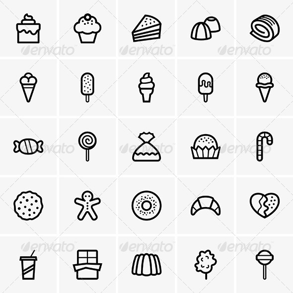 GraphicRiver Sweets Icons 6157395