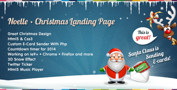 Noelle - Christmas Landing Page Template - Specialty Pages Site Templates