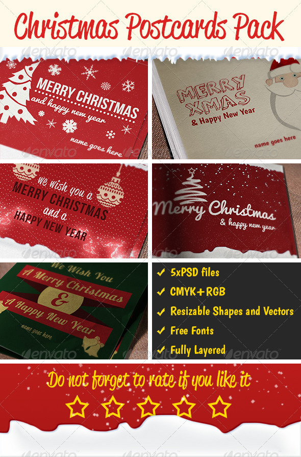 GraphicRiver Christmas Postcards Pack 6158549