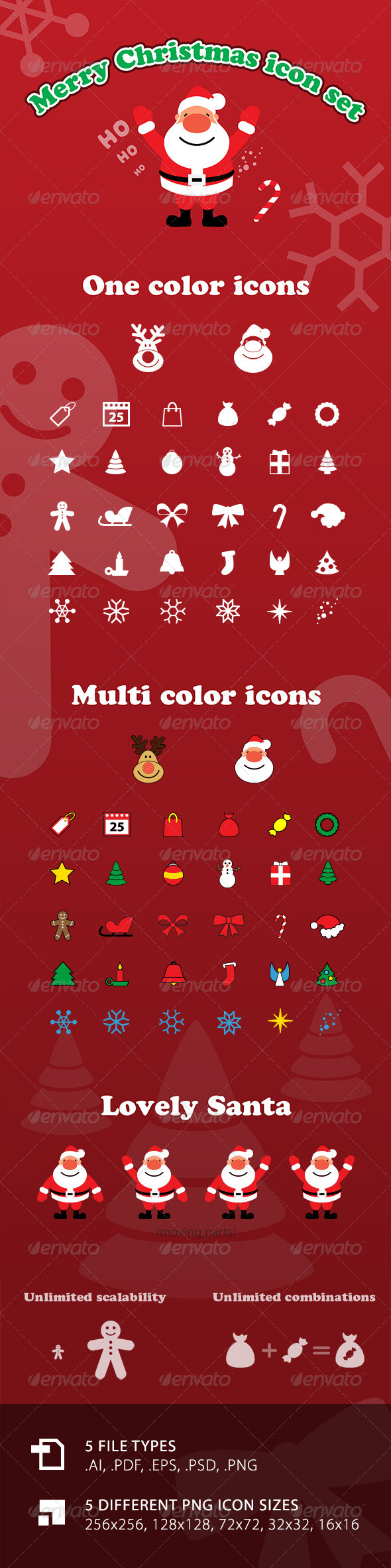 GraphicRiver Vector Merry Christmas Icon Set with Santa 6160309