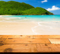 Warm sandy beach in caribbean by wooden decking - PhotoDune Item for Sale