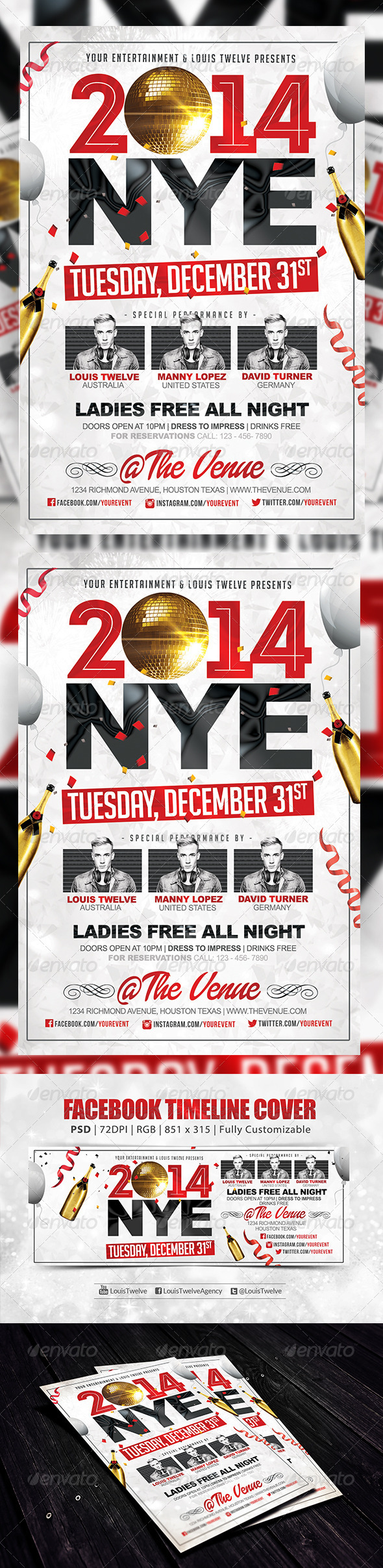 GraphicRiver NYE Party 2 Flyer & FB Cover 6160748