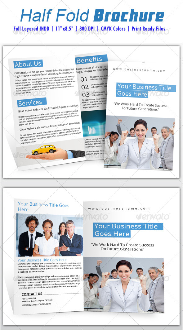 GraphicRiver Half Fold Brochure Template 6162223