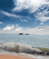 landscape with fisherman boats in sea - PhotoDune Item for Sale