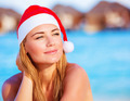 Woman celebrate Christmas on Maldives - PhotoDune Item for Sale