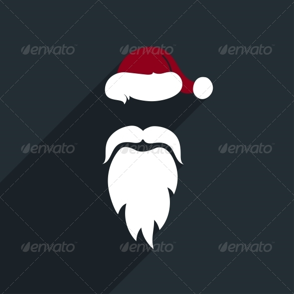 GraphicRiver Flat Design Vector Santa Claus Face Icon Greetin 6166117