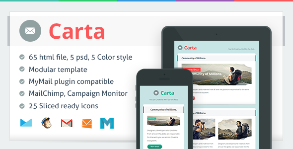 Carta - Responsive Email Template - Newsletters Email Templates