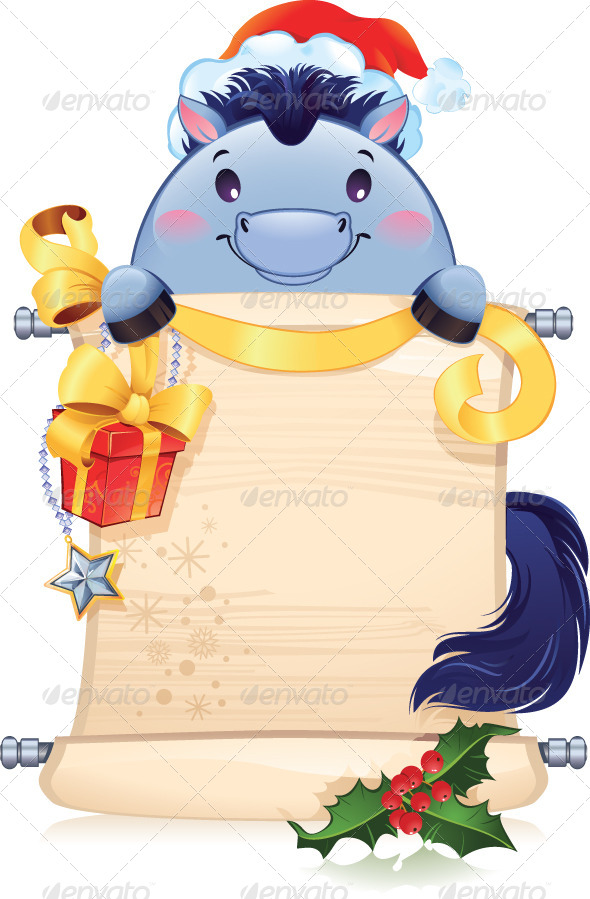 GraphicRiver The Blue Horse is a Symbol of the Approaching New Year 6136952