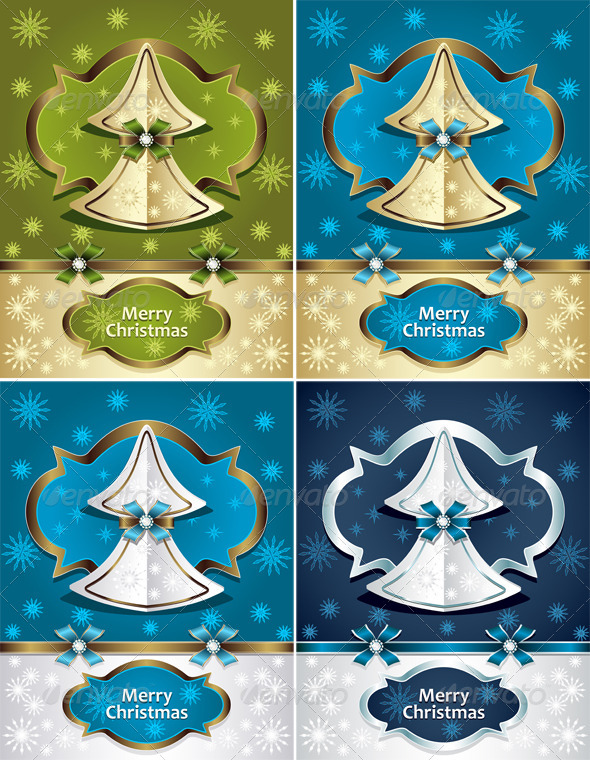 GraphicRiver Christmas Tree from Paper with Bow Ribbon Snowflake 6168109