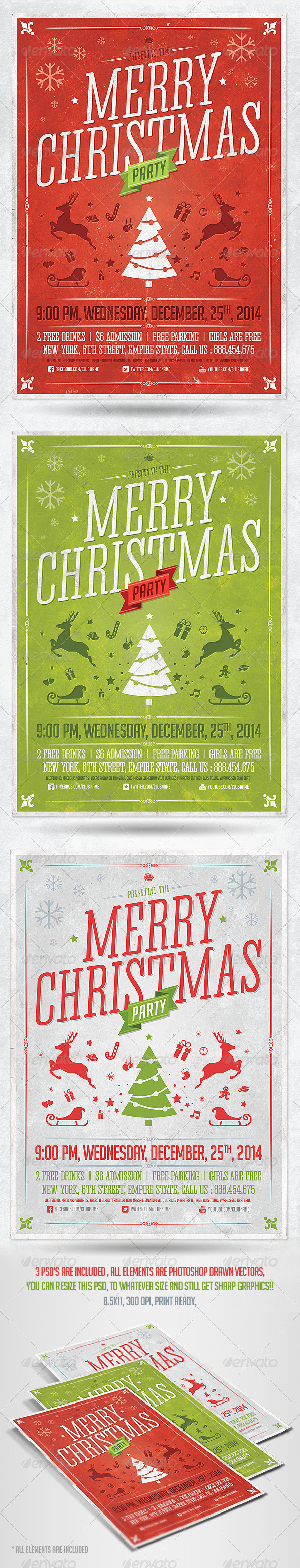 GraphicRiver Retro Christmas Party Flyer Template 6168180