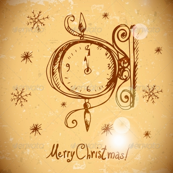 GraphicRiver Hand-Drawn Vintage Greeting Card with Clock 6168356