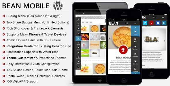 Bean Premium Mobile Theme - Mobile WordPress