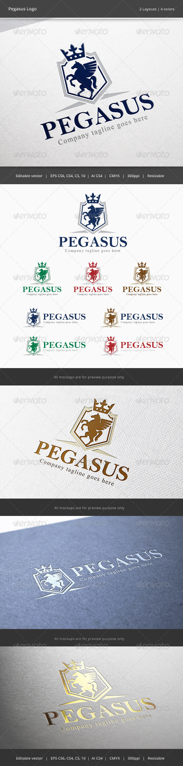 GraphicRiver Pegasus Shield Horse Crest Logo 6168954