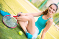 Young female tennis player resting - PhotoDune Item for Sale