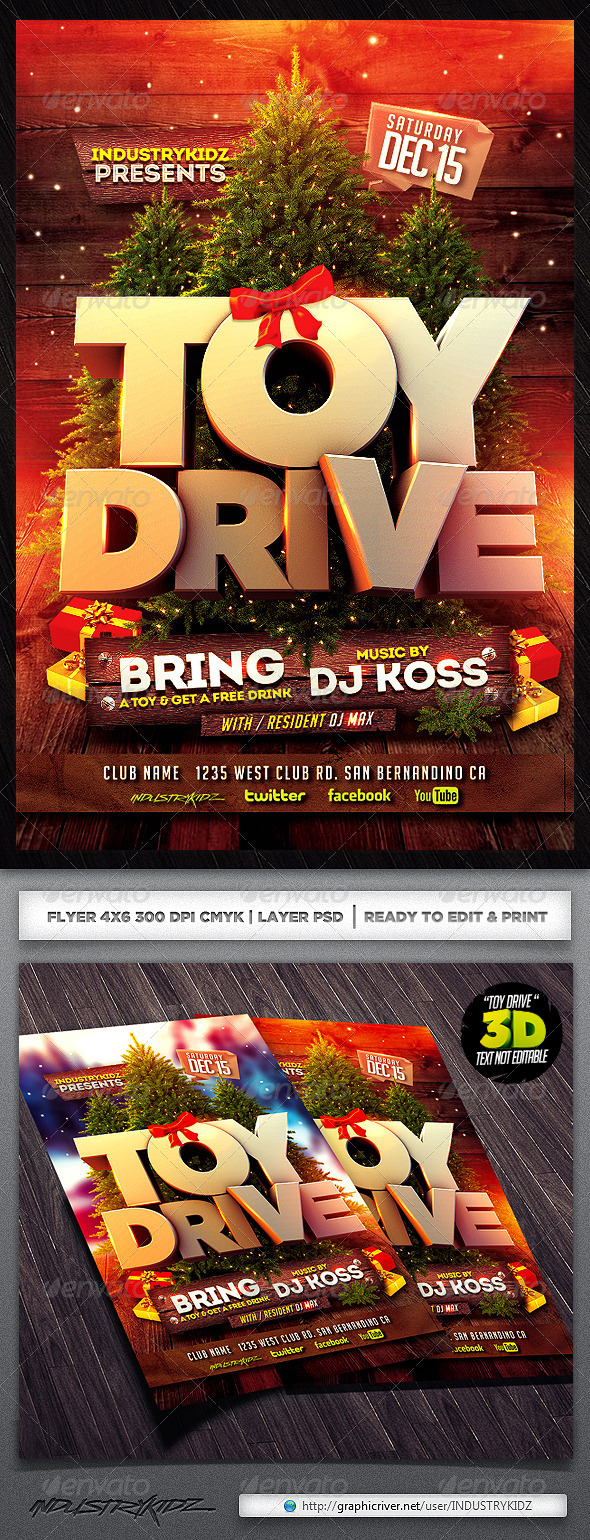 Toys For Tots Font : Toy drive flyer template graphicriver