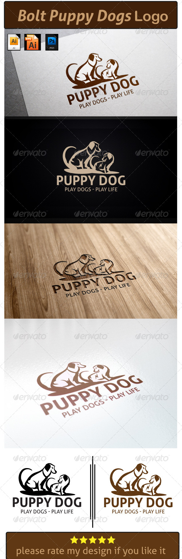 GraphicRiver Bolt Puppy Dogs Logo 6171641