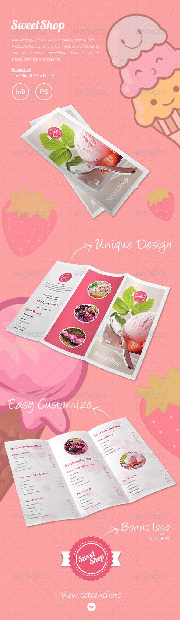 GraphicRiver Sweet Shop Menu Tri-fold Brochure 6172490
