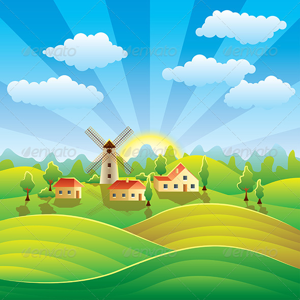 GraphicRiver Rural Landscape with Houses and Summer Fields 6172705