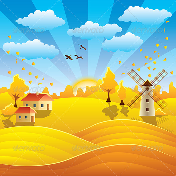 GraphicRiver Autumn Rural Landscape with Houses and Fields 6172707