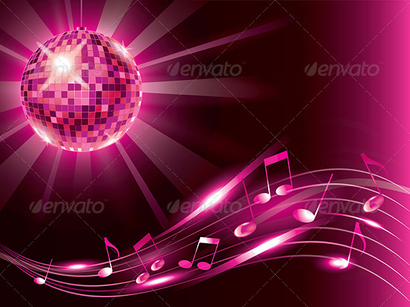 GraphicRiver Music Background with Disco Ball and Notes 6172729