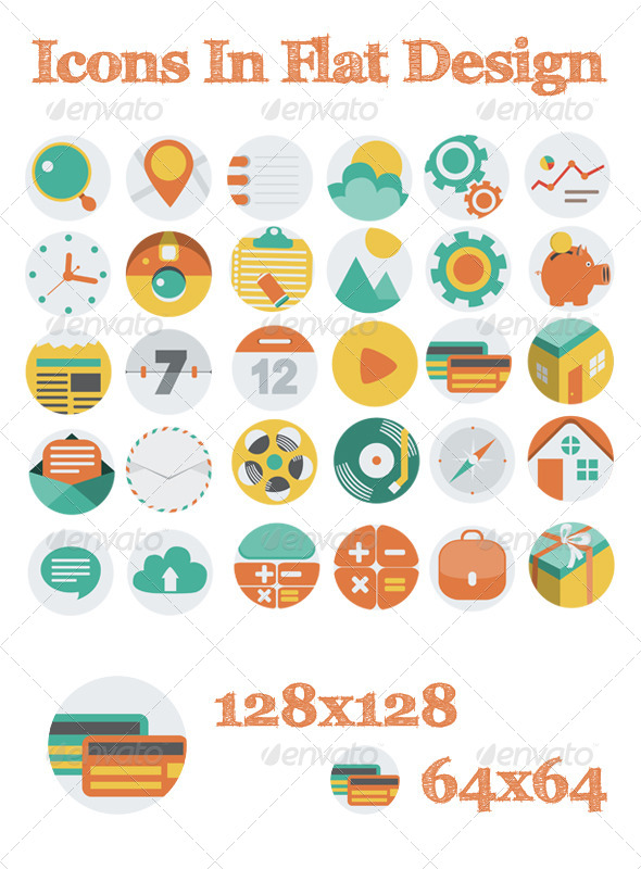 GraphicRiver Icons In Flat Design 6173076