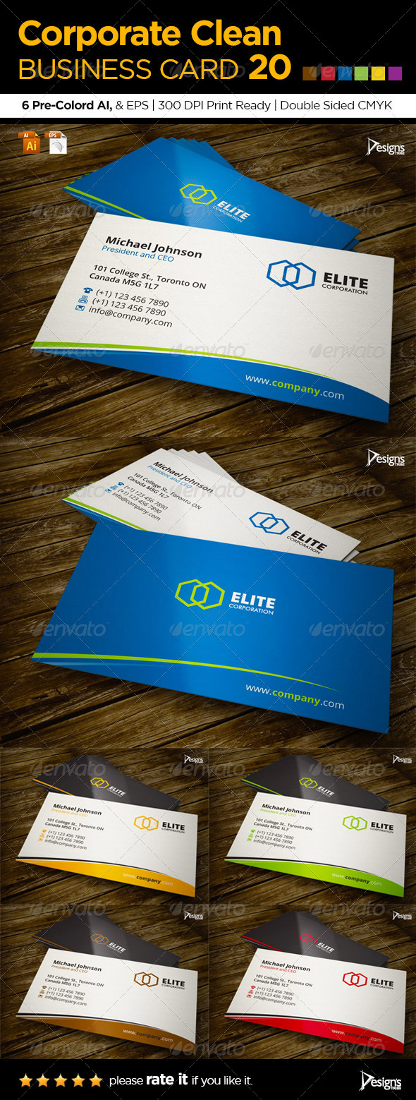 Corporate Clean Business Card 20 - Corporate Business Cards