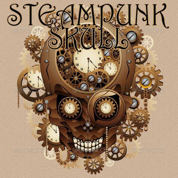 GraphicRiver Steampunk Skull Vintage Style 6173577