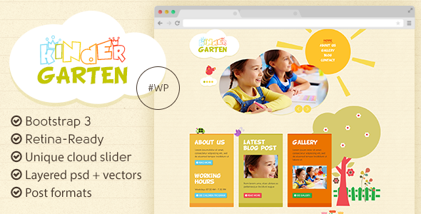 Kindergarten - Bootstrap 3 WordPress Theme - Children Retail