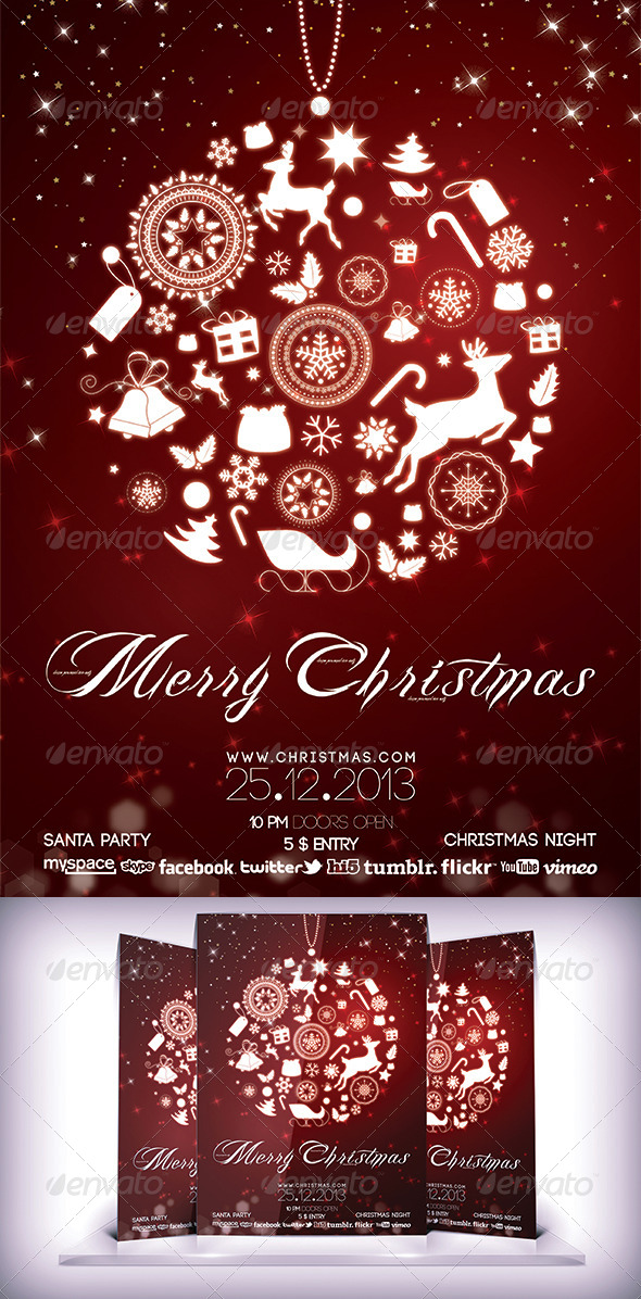 GraphicRiver Christmas Night Party Flyer 6174820