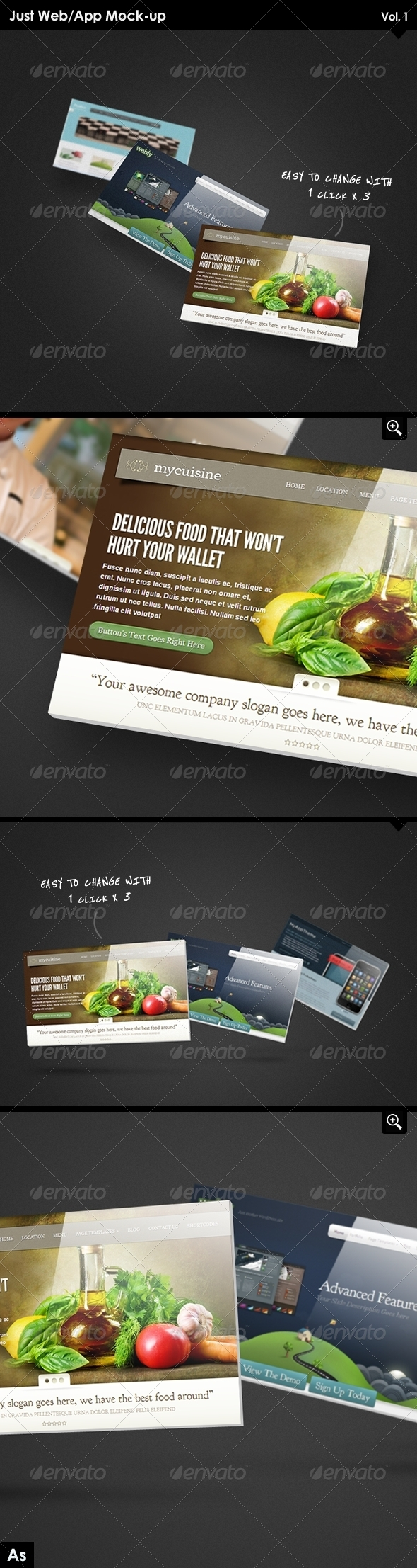 Just Web/App Mockup - Website Displays