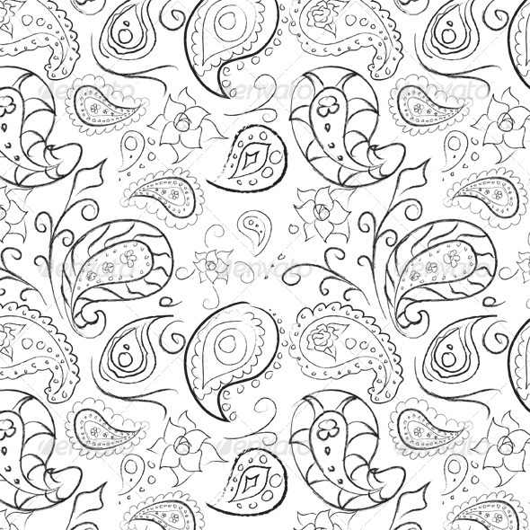 GraphicRiver Seamless Hand Drawn Paisley Pattern 6176374