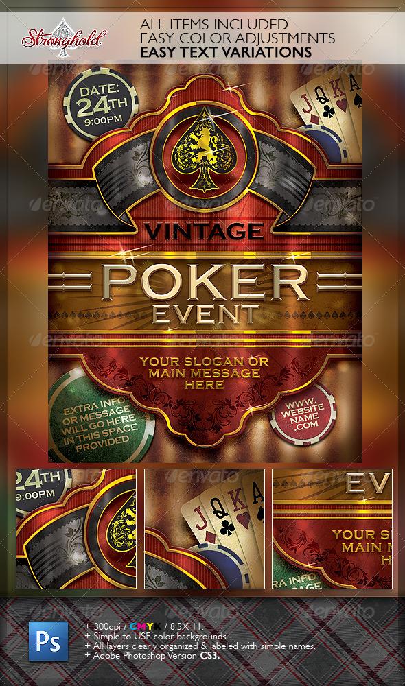 GraphicRiver Vintage Poker Cigar Flyer Template 6176390