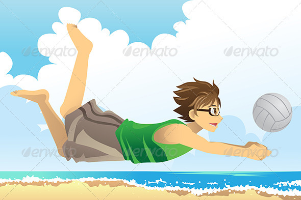 GraphicRiver Man Playing Beach Volleyball 6177190