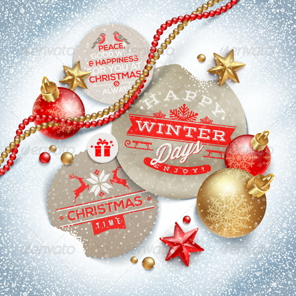 GraphicRiver Labels with Christmas Greeting and Decor 6177494