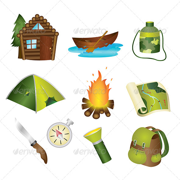 GraphicRiver Camping Icons 6177495