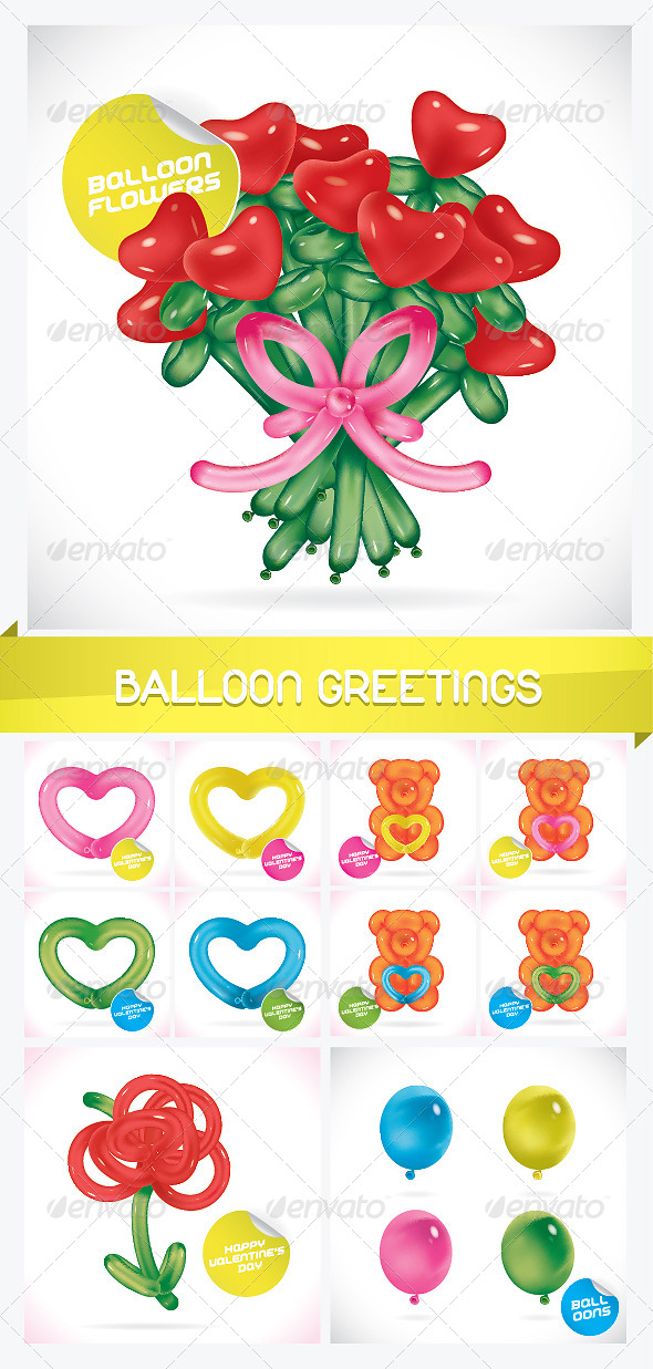 GraphicRiver Unique Glossy Balloon Greeting Cards 6177797