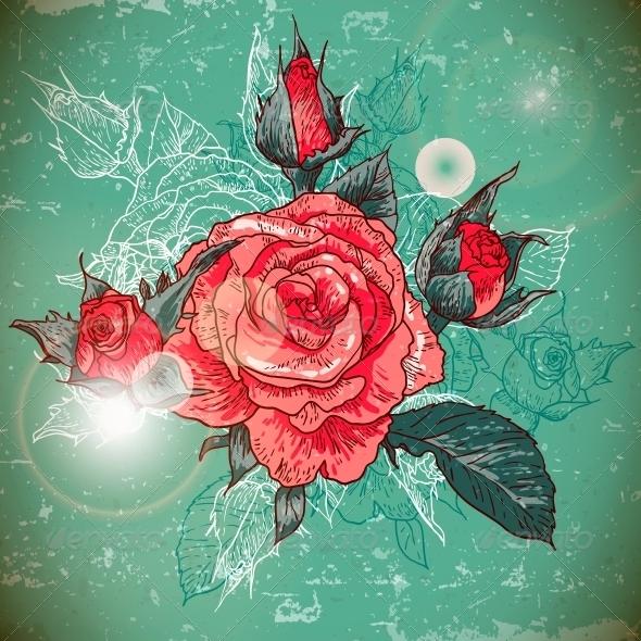 GraphicRiver Rose Background 6177894