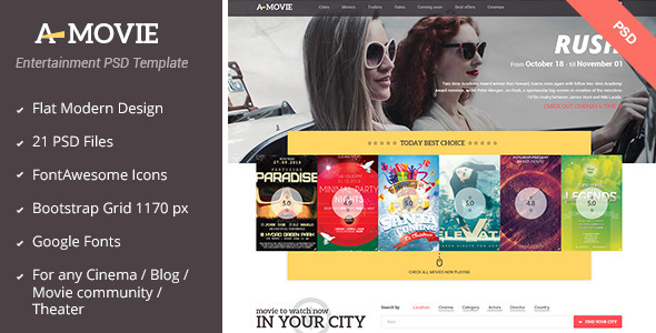 A.Movie - Cinema/Movie PSD Template - Film & TV Entertainment