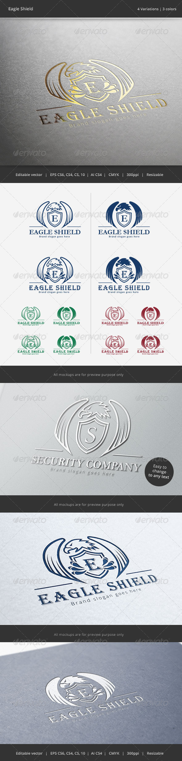 GraphicRiver Eagle Shield Crest Logo 6163793