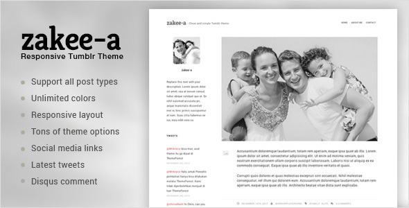 ThemeForest Zakeea-A Clean and Simple Tumblr Blog Theme 6161407