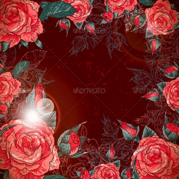 GraphicRiver Romantic Vintage Rose Frame 6181353