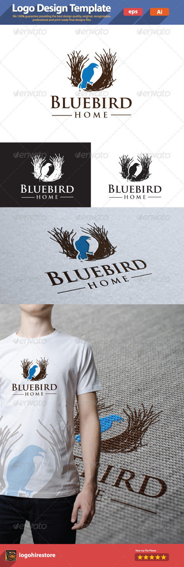 GraphicRiver Nest and Blue Bird 6181957