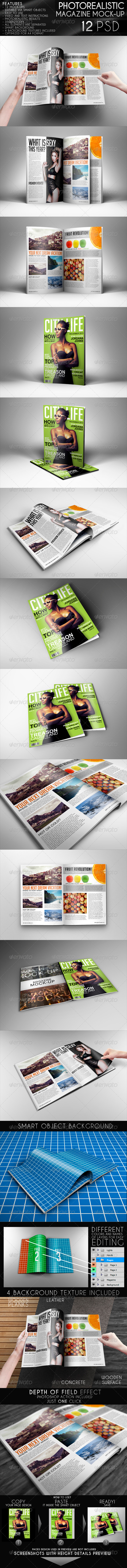 Photorealistic Magazine Mock-Up - Magazines Print