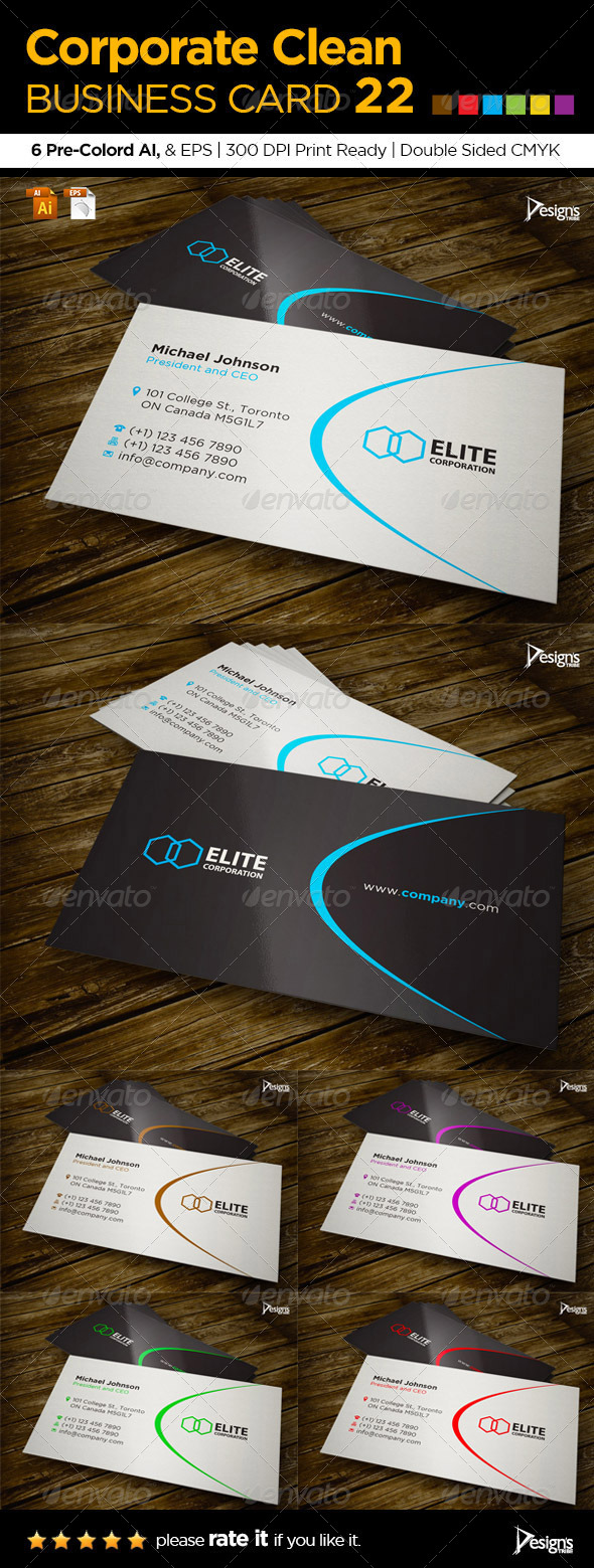 Corporate Clean Business Card 22 - Business Cards Print Templates
