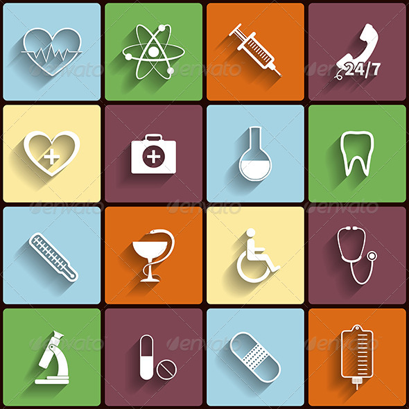 GraphicRiver Medical Flat Icons Set 6183174