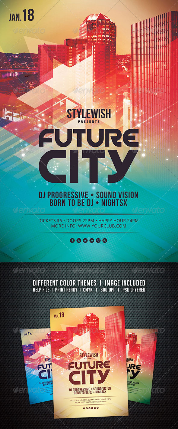 GraphicRiver Future City Flyer 6183401