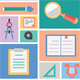 Set of Education Equipment. Flat Style Design - GraphicRiver Item for Sale
